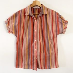 VTG Size S Esprit Striped Blouse In Earth Tones